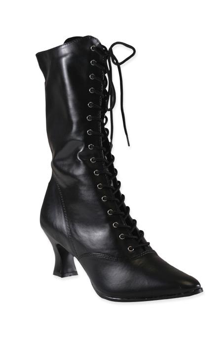 victorian womens boots bondage leather Black