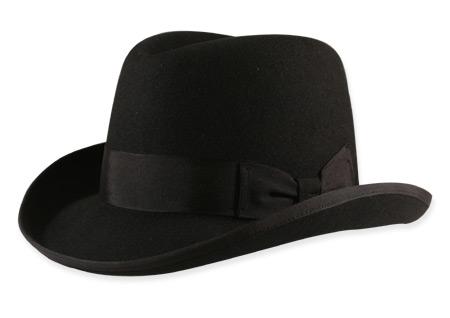 Steampunk Mens Black Wool Felt Homburg  fe4559742d2c