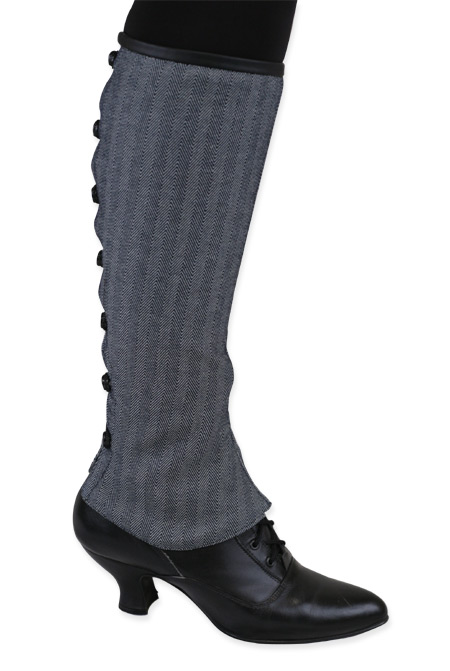 1800s Ladies Gray Stripe,Floral,Herringbone Spats | 19th Century | Historical | Period Clothing | Theatrical || Ladies Reversible Gaiters - Gray Herringbone