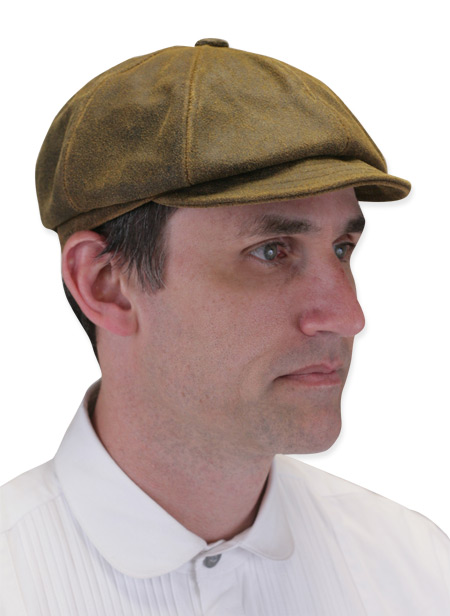 Wedding Mens Brown Leather Cap | Formal | Bridal | Prom | Tuxedo || Boilerman Cap - Brown Antiqued Leather