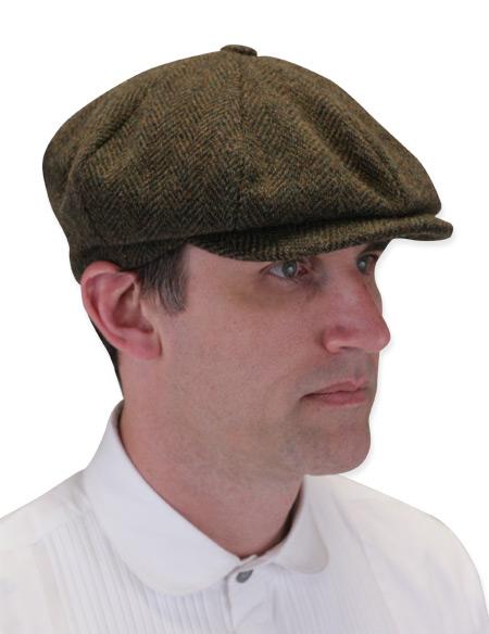 Newsboy Cap - Brown Wool Herringbone 2f87513a218