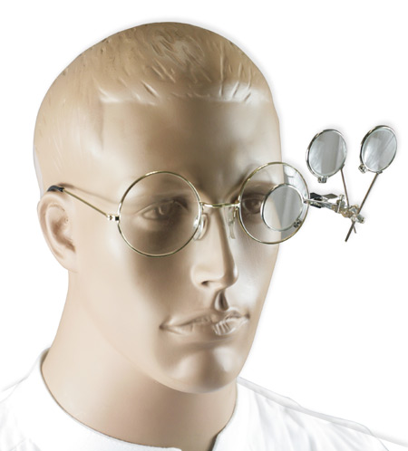 Wedding Mens Silver Alloy,Glass Magnifier | Formal | Bridal | Prom | Tuxedo || Triple Clip-On Magnifying Loupy - Silver Tone