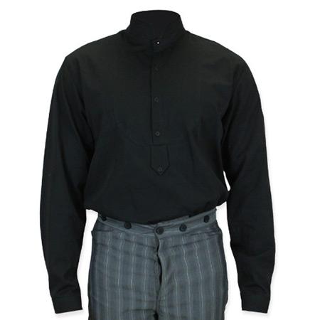 Victorian Mens Dress Shirt High Stand Collar Black