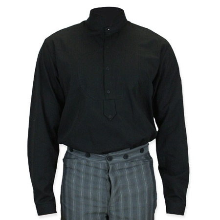 Black Shirt Dress on Victorian Mens Dress Shirt   High Stand Collar   Black
