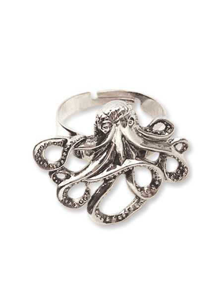 octopus ring antique silver