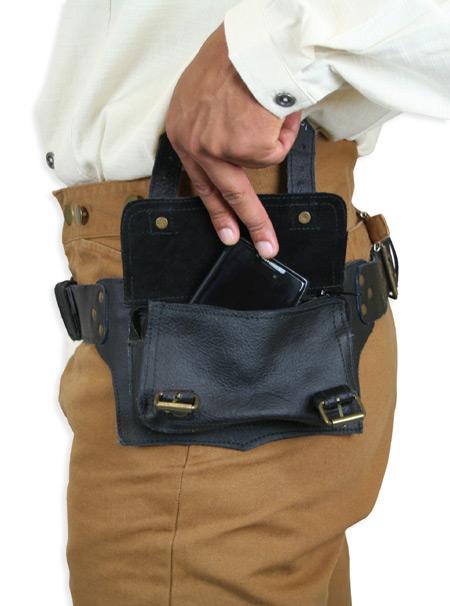 rover utility belt matte black leather