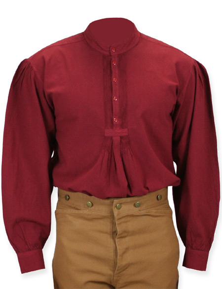 Victorian Mens Red Cotton Solid Band Collar Work Shirt | Dickens | Downton Abbey | Edwardian || Fundamental Work Shirt - Wine