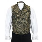Victorian,Steampunk, Mens Vests Gold Synthetic Floral,Tapestry Dress Vests |Antique, Vintage, Old Fashioned, Wedding, Theatrical, Reenacting Costume | Pirate