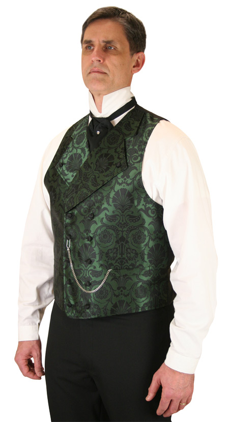 Victorian Mens Green Floral Notch Collar Dress Vest | Dickens | Downton Abbey | Edwardian || Penworth Vest - Green