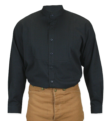 Morgan pleated dress shirt black for Black pleated dress shirt