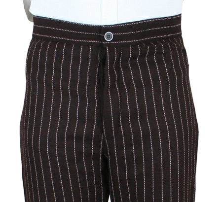 Crawford Wool Trousers - Brown Pinstripe