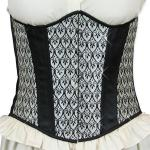 Victorian,Old West, Ladies Corsets Gray,Black,White Synthetic,Satin Print Corsets |Antique, Vintage, Old Fashioned, Wedding, Theatrical, Reenacting Costume |