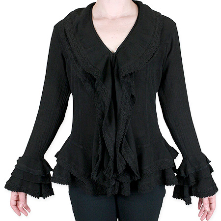 1800s Ladies Black Cotton Solid Shawl Collar Blouse | 19th Century | Historical | Period Clothing | Theatrical || Cora Ruffle Front Blouse - Black
