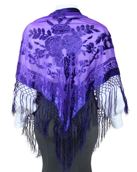 1800s Ladies Purple Floral Shawl | 19th Century | Historical | Period Clothing | Theatrical || Velvet Triangular Shawl - Purple