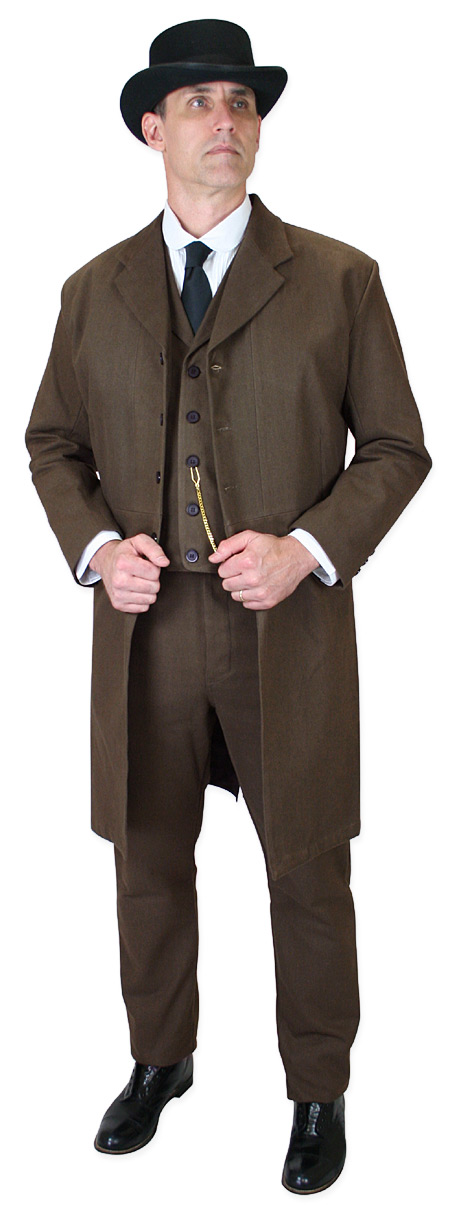 Victorian Mens Brown Cotton Solid Notch Collar Frock Coat | Dickens | Downton Abbey | Edwardian || Sable Brushed Cotton Frock Coat