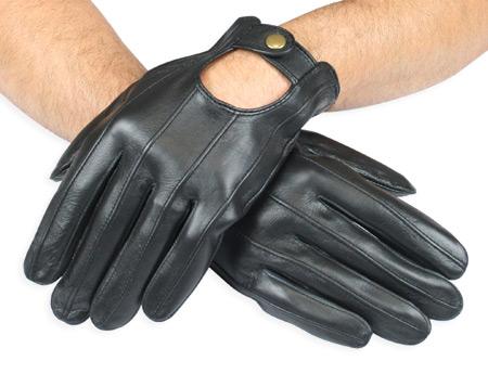 Mens Leather Driving Gloves Black