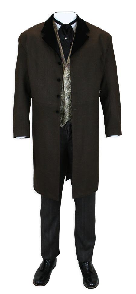 Davenport Frock Coat - Brown with Black Velvet
