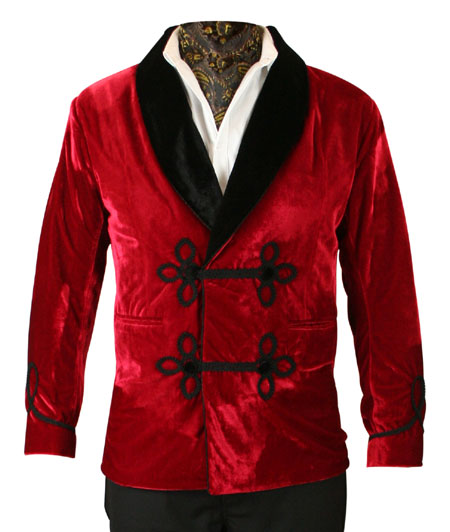 Victorian Mens Red Velvet Solid Shawl Collar Smoking Jacket Dickens