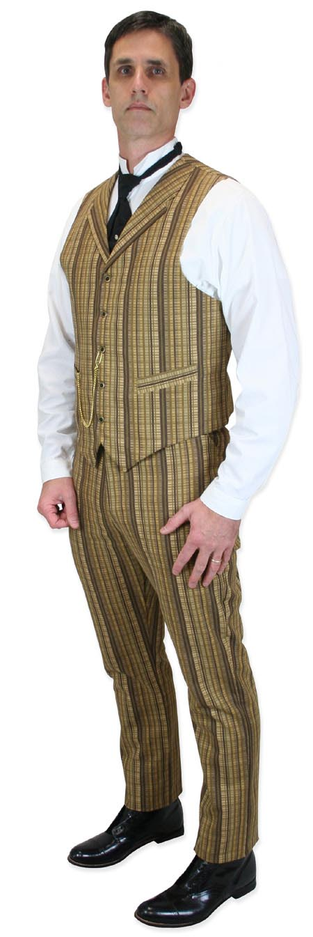 Steampunk Mens Brown Cotton Stripe Work Pants | Gothic | Pirate | LARP | Cosplay | Retro | Vampire || Bailey Trousers - Brown