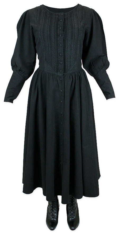 pioneer woman clothing. 1800s ladies black cotton solid dress | 19th century historical period clothing theatrical pioneer woman