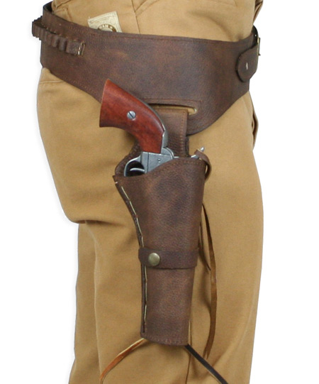 45 cal) Western Gun Belt and Holster - RH Draw - Pebble Brown Leather
