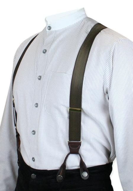 Vintage Mens Brown Y Back Braces Suspenders Romantic Old Fashioned