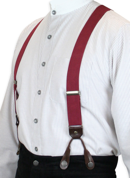 Wedding Mens Burgundy Elastic Y-Back Braces Suspenders | Formal | Bridal | Prom | Tuxedo || Burgundy Elastic Y-Back Braces (Short)