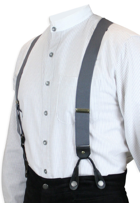 Victorian Mens Gray Elastic Y-Back Braces Suspenders | Dickens | Downton Abbey | Edwardian || Charcoal Elastic Y-Back Braces (Short)