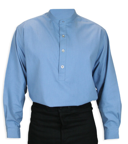 Wedding Mens Blue Cotton Blend Solid Band Collar Work Shirt | Formal | Bridal | Prom | Tuxedo || Rockvale Shirt -  Frost Blue