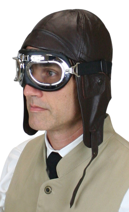 887f6f156b8 Steampunk Mens Brown Leather Aviator Helmet