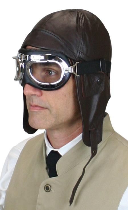 Leather Aviator Helmet Brown