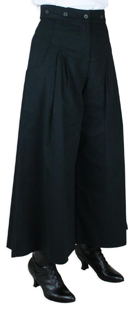 Victorian Ladies Black Cotton Solid Work Pants Dickens Downton