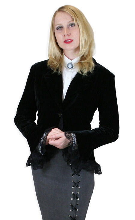 Victorian Ladies Black Velvet Solid Notch Collar Outing Jacket | Dickens | Downton Abbey | Edwardian || Velvet Laceup Jacket - Black