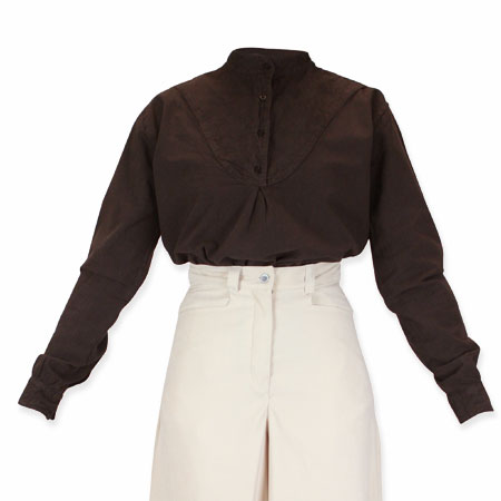 Ladies embroidered work shirt chocolate for Embroidered work shirts online