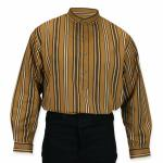 Victorian,Old West, Mens Shirts Brown,Tan Cotton Stripe Work Shirts |Antique, Vintage, Old Fashioned, Wedding, Theatrical, Reenacting Costume |