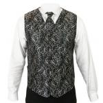 Victorian,Old West, Mens Vests Black,Gray Satin,Synthetic,Microfiber Floral Dress Vests,Tie Included |Antique, Vintage, Old Fashioned, Wedding, Theatrical, Reenacting Costume |