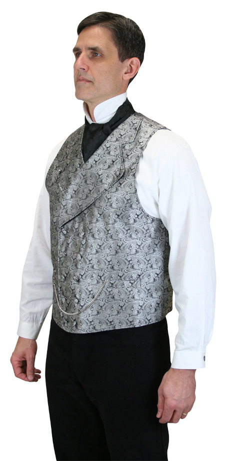 Steampunk Mens Gray Paisley Notch Collar Dress Vest | Gothic | Pirate | LARP | Cosplay | Retro | Vampire || Kendall Vest - Silver