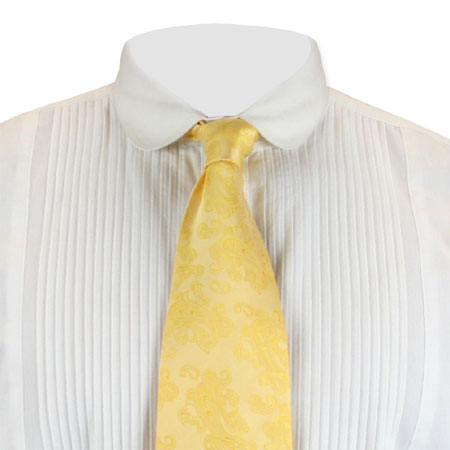 Victorian Mens Yellow Paisley Four-In-Hand Tie | Dickens | Downton Abbey | Edwardian || Ambrose Butter Brocade Four-In-Hand Tie - Gold