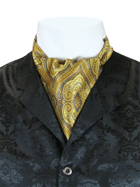 Wedding Mens Multicolor,Gold Print Ascot | Formal | Bridal | Prom | Tuxedo || Kingsley Ascot - Gold