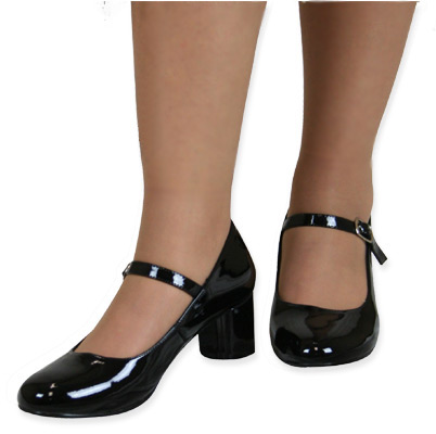 Mid Heel Mary Jane Shoes Black