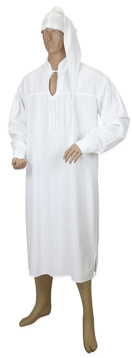Mens Nightshirt and Night Cap - White