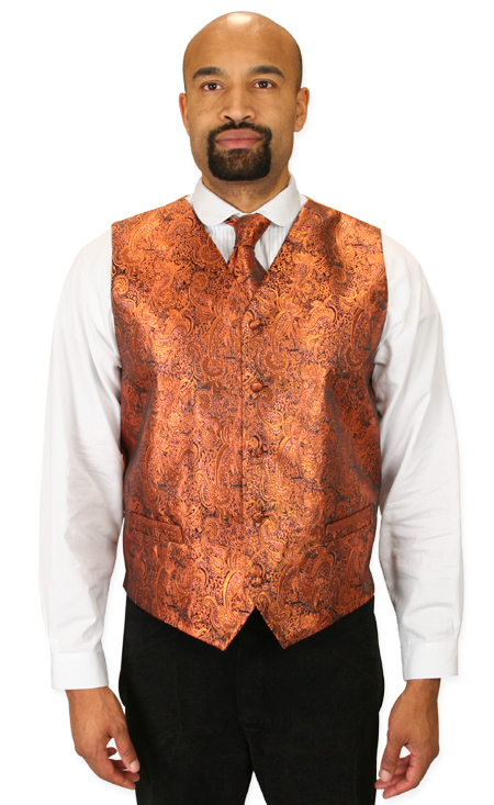 Steampunk Mens Orange Paisley No Collar Dress Vest | Gothic | Pirate | LARP | Cosplay | Retro | Vampire || Showman Vest and 2 Ties Set - Orange