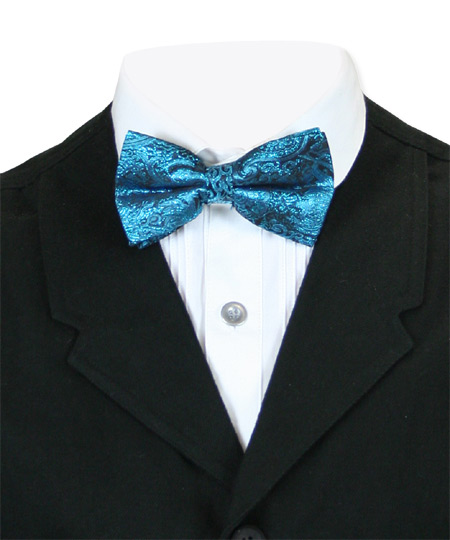 Vintage Mens Blue Paisley Bow Tie | Romantic | Old Fashioned | Traditional | Classic || Showman Bow Tie - Turquoise
