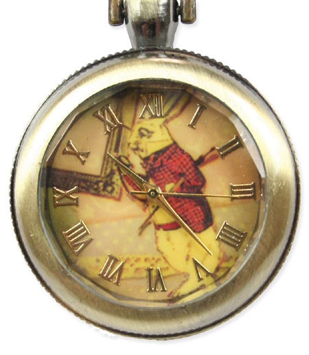 Ladies watch pendant white rabbit antique gold mozeypictures Choice Image
