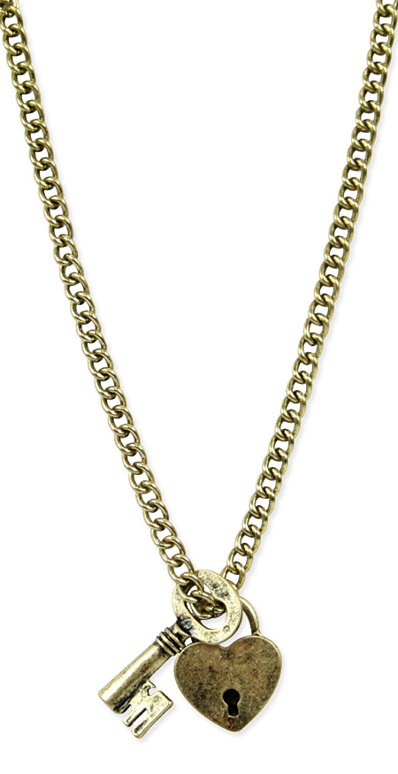Charm Necklace with Antique Gold Lock and Key