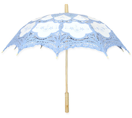 Steampunk Ladies Blue,White Cotton,Lace Lacy Parasol | Gothic | Pirate | LARP | Cosplay | Retro | Vampire || Lace Parasol - Blue/White