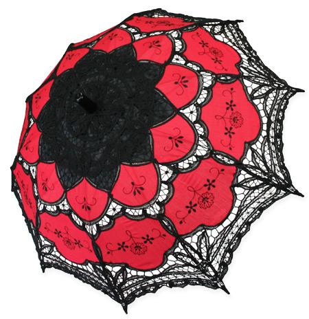 Lace Parasol Red Black