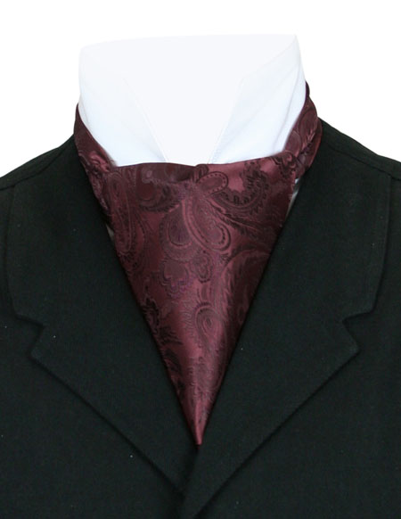 Vintage Mens Burgundy,Red Paisley Ascot | Romantic | Old Fashioned | Traditional | Classic || Opulent Paisley Ascot - Wine