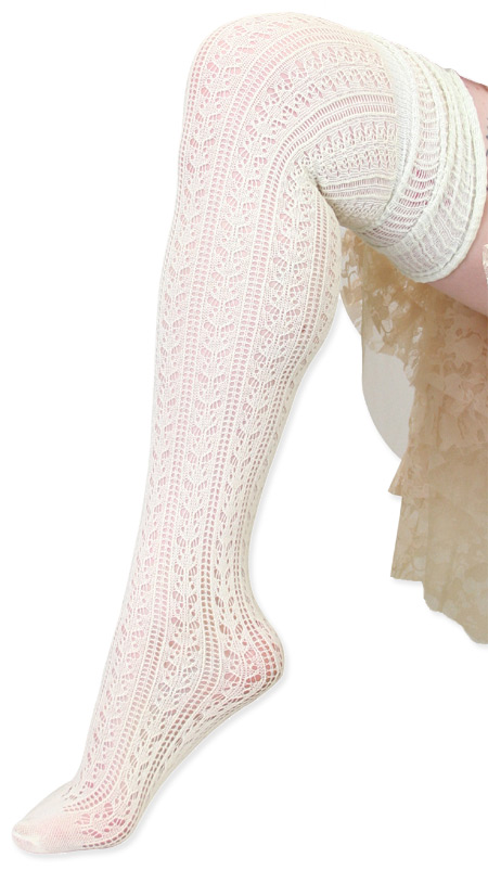 Victorian Ladies Ivory Solid Stockings | Dickens | Downton Abbey | Edwardian || Over the Knee Pointelle Sock - Ivory