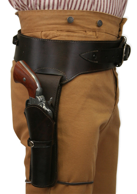 Victorian Mens Brown Leather Un-Tooled Gunbelt Holster Combo | Dickens | Downton Abbey | Edwardian || (.22 cal) Western Gun Belt and Holster - RH Draw - Plain Brown Leather